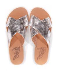 Ancient Greek Sandals Metallic Thais Perforated Silver Sandal