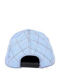 Moschino Blue Quilted Denim Hat