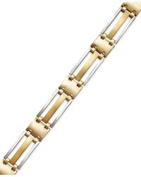 Macy's | Metallic Men's Two-tone Bracelet In 14k Gold for Men | Lyst