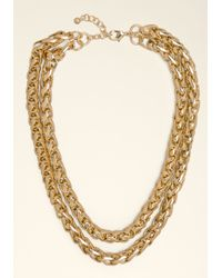 Bebe | Metallic Double Row Chain Necklace | Lyst