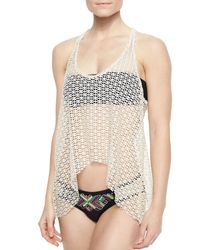 Ella Moss - Black Dream Weaver Netted/solid Top - Lyst