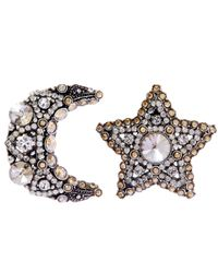Lanvin Metallic Silver-tone Crystal Elsie Moon Star Clip-on Earrings