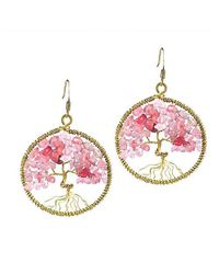 Aeravida - Pink Eternal Tree Of Life Rose Quartz Branch Brass Dangle Earrings - Lyst