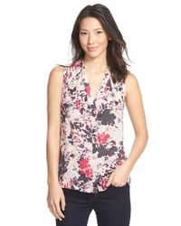Halogen | Pink Sleeveless Tuck Detail V-neck Top | Lyst