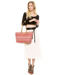 Tory Burch - Red Small Stripe Straw Tote - Lyst