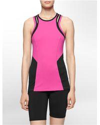 Calvin Klein | Pink White Label Performance Slit Shoulder Racerback Tank Top | Lyst