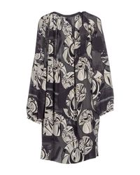 Emilio Pucci Black Printed Pleated Chiffon Gown