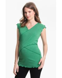 Japanese Weekend | Green Maternity Cross Front Nursing Top | Lyst