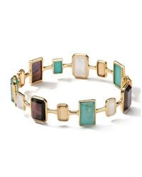 Ippolita - Metallic 18K Gold Rock Candy Gelato Medium Rectangular 14-Stone Bangle - Lyst
