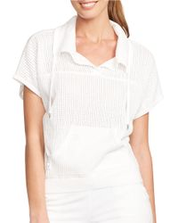 Lauren by Ralph Lauren | White Cotton Drawstring Pullover | Lyst