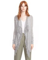 Rebecca Taylor - Gray 'checker' Fringed Drape Front Knit Cardigan - Lyst