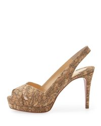 Christian Louboutin | Metallic Soso Cork Red Sole Slingback Sandal Gold | Lyst