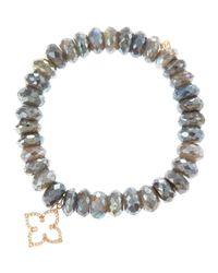 Sydney Evan Gray Moroccan Star Labradorite Bead Bracelet with Pav Diamonds