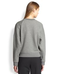 3.1 Phillip Lim Gray Embroidered Poodle Cropped Sweatshirt