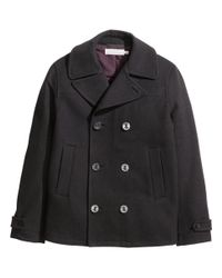 H&M Black Peacoat In A Wool Blend for men