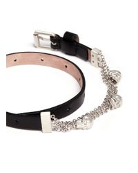 Alexander McQueen - Black Skull Chain Double Wrap Leather Bracelet - Lyst