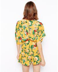 ASOS Yellow Kimono Playsuit In Vintage Floral Print