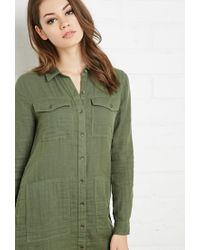 Forever 21 - Green Cotton Utility Shirt Dress - Lyst