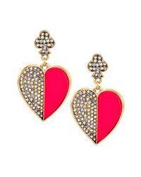 Betsey Johnson Pink Casino Royale Pave Heart Drop Earrings