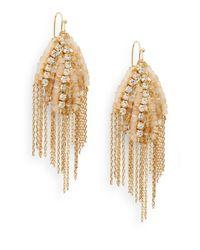 Saks Fifth Avenue - Metallic Beaded Fringe Earrings - Lyst