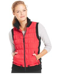 Calvin Klein Red Performance Ribbed-Knit Quilted Puffer Vest