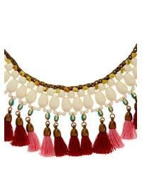 Isabel Marant | Red Mild Tassel And Bead Collar Necklace | Lyst