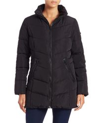 Calvin Klein Black Quilted Zip-front Coat