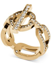 Michael Kors | Metallic Gold-tone Toggle Link Ring With Pavé Crystal Accents | Lyst