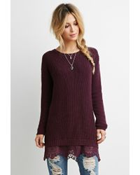 Forever 21 | Purple Lace-hem Longline Sweater | Lyst