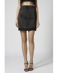 TOPSHOP Black Satin Origami Pleated Skirt