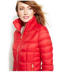 Michael Kors Red Michael Packable Quilted Down Puffer Coat