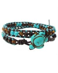 Aeravida | Blue Timeless Ocean Sea Turtle Tiger's Eye And Turquoise Double Wrap Bracelet2 | Lyst