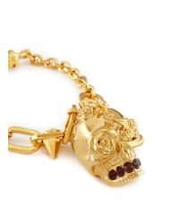 Alexander McQueen - Metallic Punk Rose Skull Chain Bracelet - Lyst