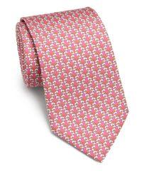 Ferragamo - Pink Dog-print Silk Tie for Men - Lyst