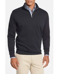 Peter Millar | Black Interlock Quarter Zip Sweatshirt for Men | Lyst