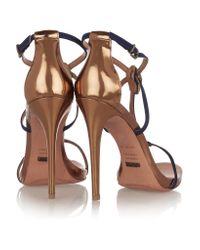 Schutz Embellished Nubuck And Metallic Leather Sandals
