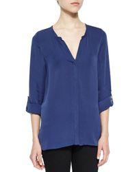 Joie - Blue Kahari 3/4-sleeve Silk Top - Lyst