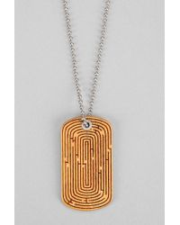 Urban Outfitters Orange Omerica Organic Maze Dog Tag Necklace for men