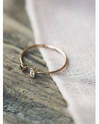 Free People | Metallic Baguette Diamond Open Ring | Lyst