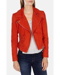 Karen Millen | Red Signature Suede Biker Jacket | Lyst