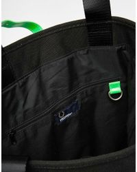 Fred Perry - Black Soho Neon Shopper Bag With Green Trim - Lyst