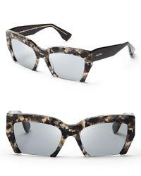 Miu Miu - Brown Semi-rimless Geometric Sunglasses - Lyst