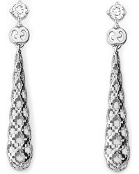 Gucci | Diamantissima 18ct White-gold And Diamond Drop Earrings | Lyst