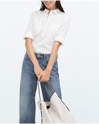 Zara | White Combined Detail Stretch Poplin Shirt | Lyst