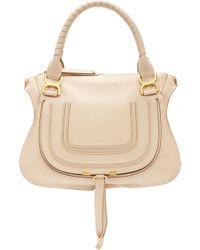 Chloé Natural Nude Calfskin Marcie Medium Double Carry Bag