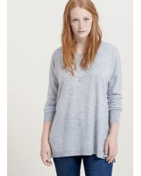 Violeta by Mango - Gray Wool-blend Sweater - Lyst