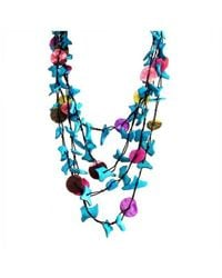 Aeravida | Blue Colorful Strands Coco Palm Wood Nuggets Shell Embellished Necklace | Lyst