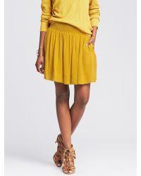 e35aa3055a Banana Republic Smocked Full Skirt in Yellow - Lyst