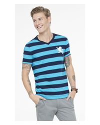 Express | Blue Rugby Stripe Large Lion V-neck Tee for Men | Lyst