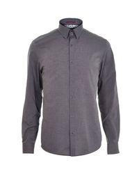 River Island - Gray Grey Light And Dark Long Sleeve Shirt for Men - Lyst